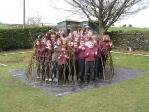 40 Pupils from Ysgol Pontrhyfendigaid in their living willow dome by Living Willow Wales
